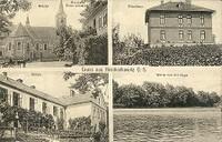 Hošťálkovice - kostel Všech svatých, fara, Obecná škola, pohled na řeku Opavu (jez) - rok 1910