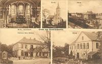 Interiér kostela Všech svatých - kostel Všech svatých - farní budova - hostinec Schikora - Obecná škola v Hošťálkovicích- rok 1925