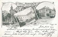 Hošťálkovice - původní kostel Všech svatých z roku 1793, Obecná škola, hospoda Schikora - rok 1900