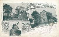 Hošťálkovice - hospoda Kubenka, pekárna (od roku 1929 sídlo trojtřídní měšťanské školy), historický větrný mlýn (v provozu do roku 1910) - rok 1905