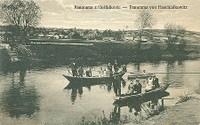 Panorama z Hošťálkovic z roku 1920 - převoz přes řeku Odru do Mariánsk. Hor- rok 1920