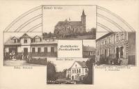 Hošťálkovice - kostel Všech svatých, pošta na ul. Hlavní, obchodní dům (prodejna Hruška na ul Hlavní), Obecná škola - rok 1925