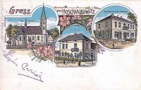 Kostel Všech svatých - empírový zámeček na rytířském statku Hošťálkovice- hostinec Schikora- rok 1905
